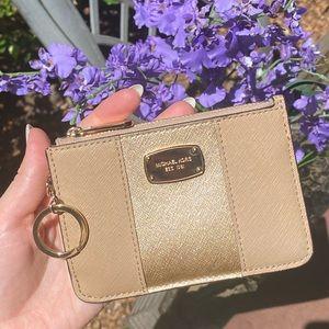 Michael Kors Gold & Tan KeyPouch Cardholder Wallet